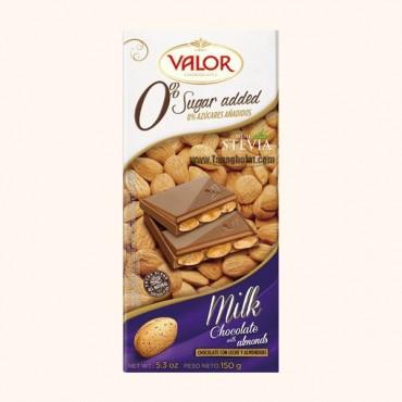 شکلات شیری بدون گلوتن و بدون شکر والور با مغز بادام حاوی استویا