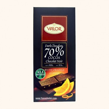 شکلات تلخ 70% بدون گلوتن والور با طعم پرتقال