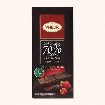 شکلات تلخ 70% بدون گلوتن والور با طعم میوه های جنگلی